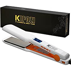 """KIPOZI Pro Nano-Titanium Hair Straightener Flat Iron with Digital LCD Display,Dual Voltage,Instant Heat Up,Mother's day Gifts,1.75"""" Wide Plate(White)"""