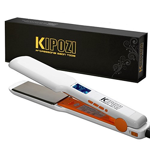 "KIPOZI Pro Nano-Titanium Hair Straightener Flat Iron with Digital LCD Display,Dual Voltage,Instant Heat Up,Anti-Frizz,1.75"" Wide Plate(White) by kipozi"