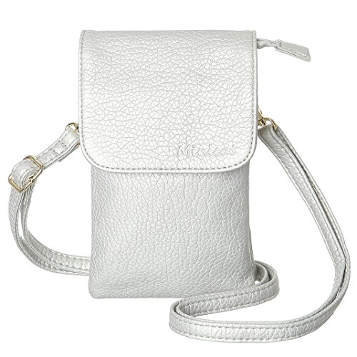 MINICAT Roomy Pockets Series Small Crossbody Bags Cell Phone Purse Wallet For Women(Light Silver)
