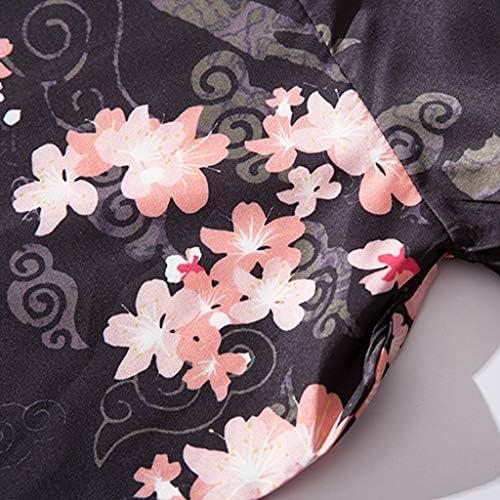 Litetao Men Loose Coat National Dragon Print Seven Sleeves Open Front Coat Outwear Loose Cape Coat