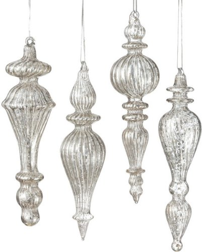 Christmas Tablescape Decor - Elegant antiqued silver mercury style glass drop Christmas ornaments - Set of 4