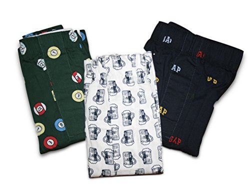 GAP Men's Printed Boxers 3-Pairs Boxer Shorts (Medium) (Pool Balls, Beer Mugs, Wording)