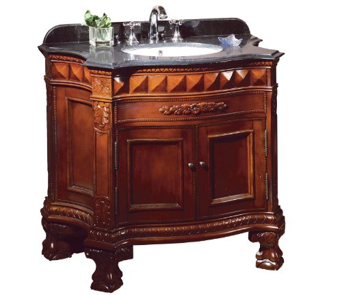 Ove Decors Buckingham 36 Bathroom 36-Inch Vanity Ensemble with Black Granite Countertop and Ceramic Basin, Dark Cherry