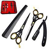 Saaqaans SQKIT Professional Hairdressing Scissors Set - Barber Thinning & Quality Haircut Hairdresser Shears 6 inches with Straight Cut Throat Shaving Razor in a Black Case (Barber Scissors Set)