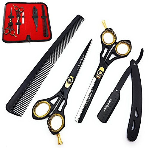 Price comparison product image Saaqaans SQKIT Professional Hairdressing Scissors Set - Barber Thinning & Quality Haircut Hairdresser Shears 6 inches with Straight Cut Throat Shaving Razor in a Black Case (Barber Scissors Set)