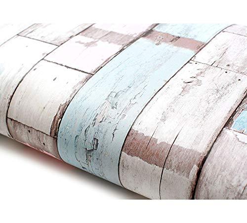 Peel and Stick PVC Instant Reclaimed Wood Decorative Self-Adhesive Film Countertop Backsplash Pastel (22517 : 1.64 Feet X 9.84 Feet)