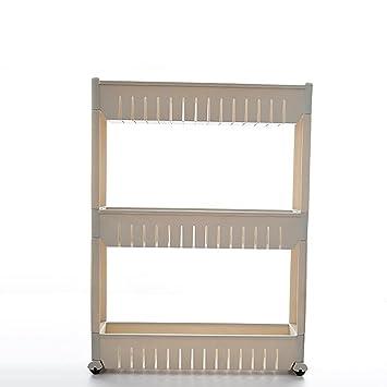 3 Tier Slide out Kitchen Trolley Rack Organizador de Almacenamiento Muebles de Pared móviles Tower Holder Estante de baño con Ruedas Carros de Servicio: ...