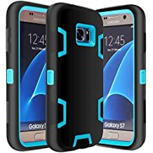Galaxy S7 Case, E LV Samsung Galaxy S7 - Hybrid Defender Rugged Shockproof Dirtproof Case Cover for Samsung Galaxy S7 - [BLACK / TURQUOISE]