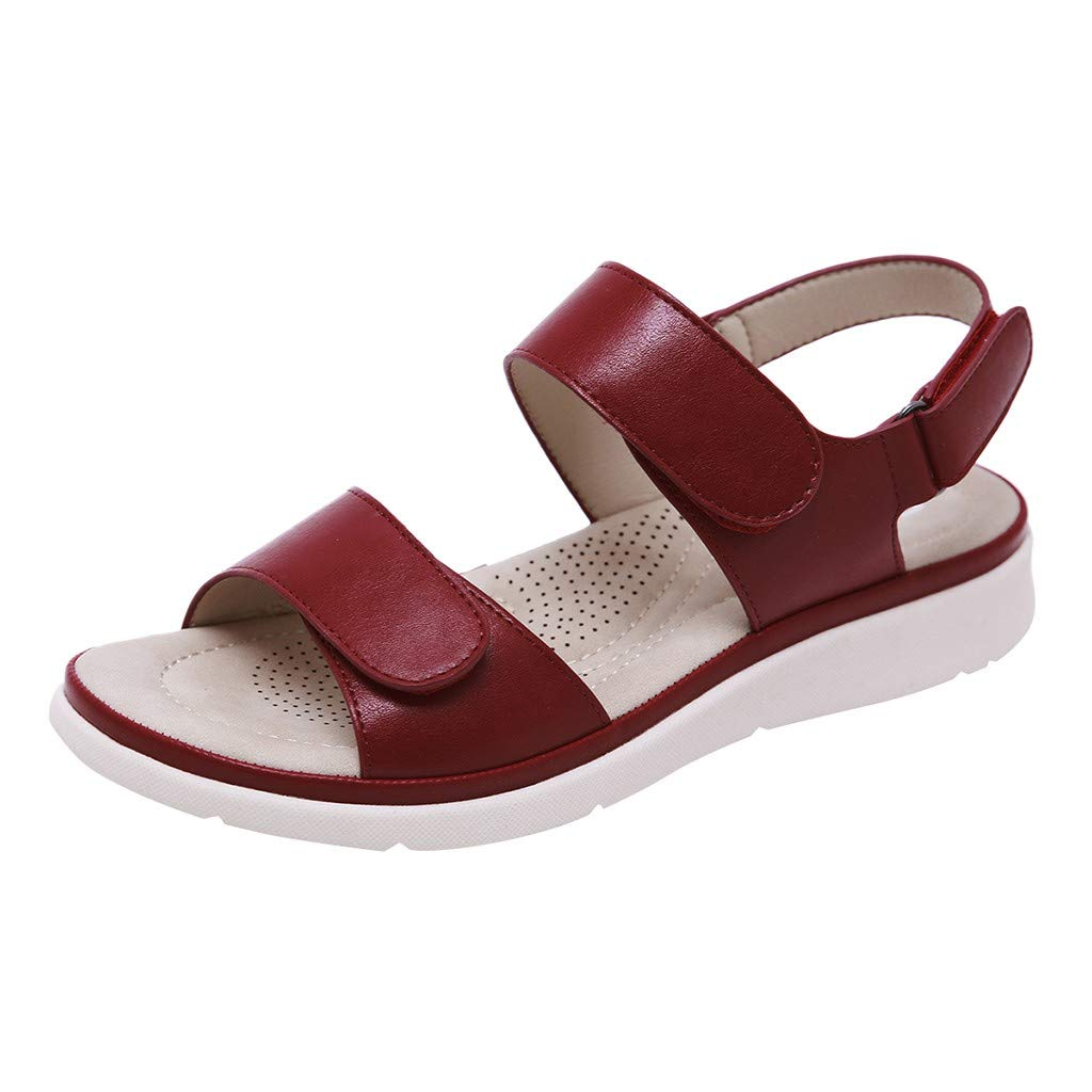 Fastbot Women's Summer Sandals Open Toe Casual Comfort Fashion Peep-Toe Low Roman Flat Shoes Beach Shoes Red