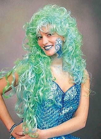 Orlob Damen Perücke Nixe Zum Meerjungfrau Kostüm An Karneval
