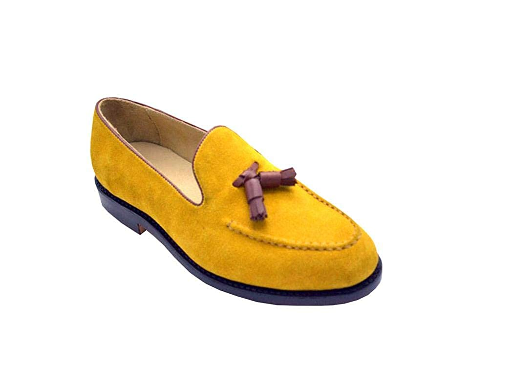 Yellow Real Suede Leather Slip