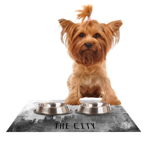 Kess InHouse Alison Coxon The City Never Sleeps  Feeding Mat for Pet Bowl, 24 by 15