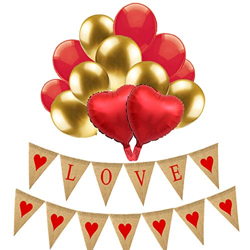 Valentines Day Decorations-1 Love Burlap Banner, 1 Red Heart Garland,3 Red Metallic Foil Balloons,15 Gold and Red Balloons,Anniversary,Wedding,Birthday,Bridal Shower,Bachelorette Party ()