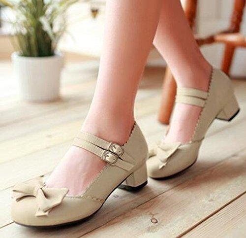 Idifu Mujeres Sweet Arcos Mid Chunky Heels Dos Correas Hebilla Mary-jane Bombas Zapatos Beige