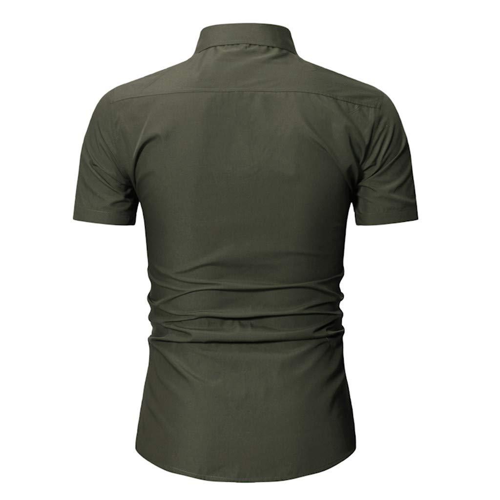 Men Autumn Casual Military Cargo Slim Button Short Sleeve Dress Shirt Top Blouse//