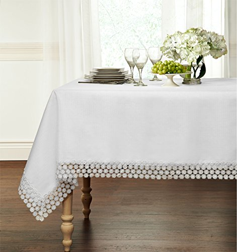 """HLC.ME Regent Macrame Lace Tablecloth - Available in 4 sizes (White, 60"""" x 90"""")"""