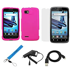 GTMax Hot Pink Rubberized Snap on Hard Cover Case + Clear LCD Screen Protector + Car Charger + Sync USB Data Cable + Universal Wrist Strap Lanyard for Motorola Atrix 2