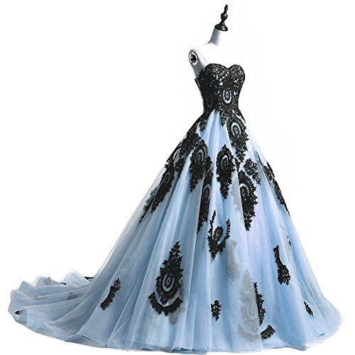 Amazon.com: Kivary Long Ball Gown Black Lace Gothic Corset Formal ...