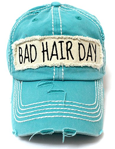 - CAPS 'N VINTAGE Women's Hat Bad Hair Day Patch Embroidery Ballcap, Turquoise
