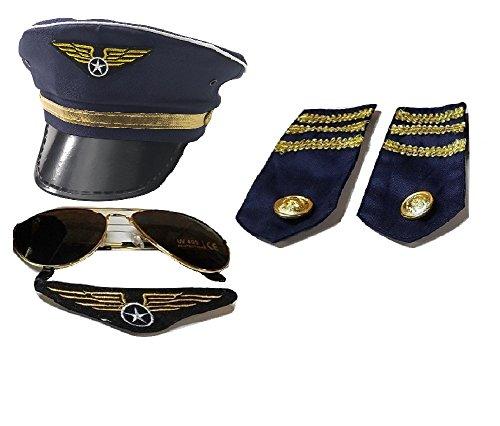Pilot Captain Navy Hat Fancy Sunglasses Badge Epaulets Costume Accessory Set