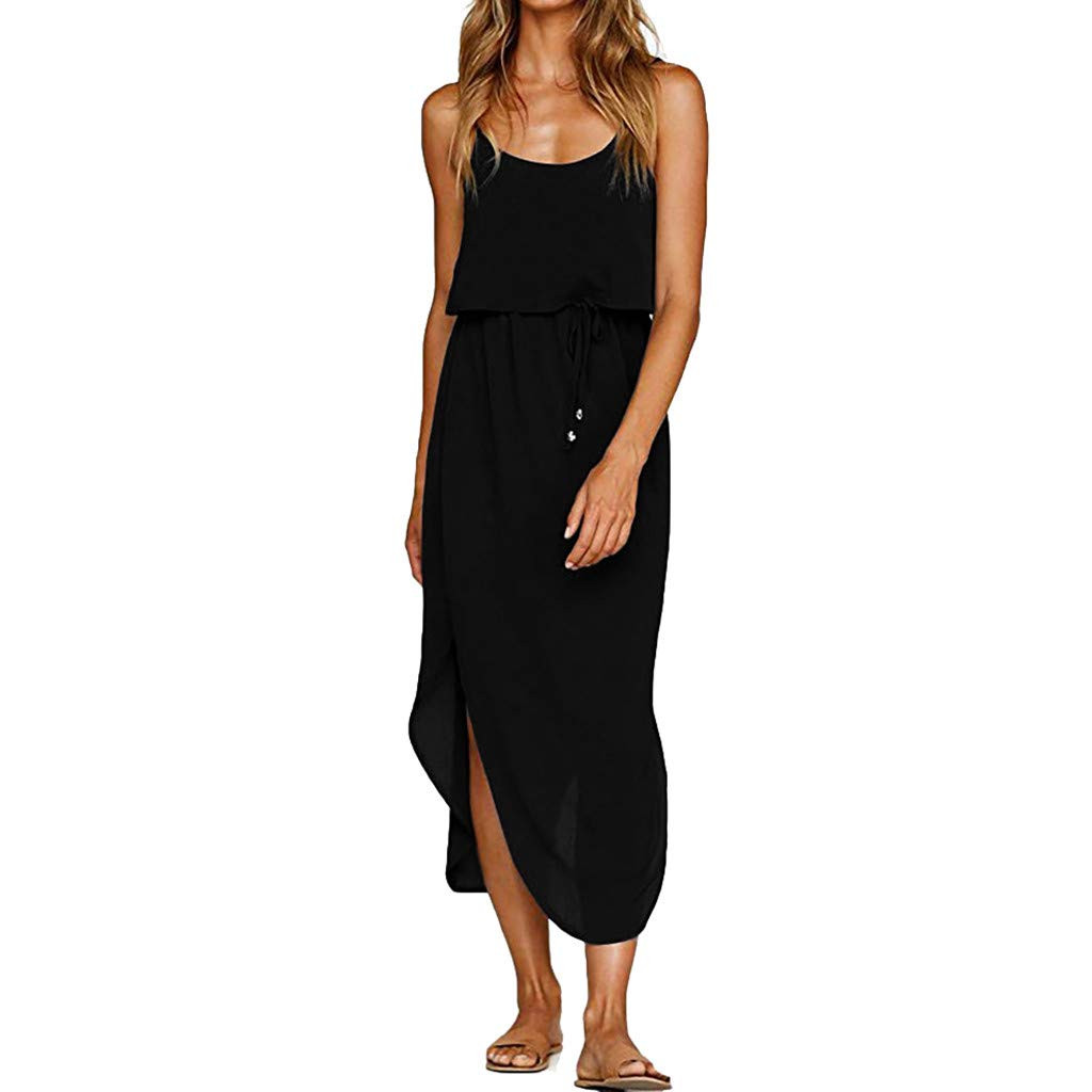 Women's Dresses Sleeveless Adjustable Strappy Solid High Low Pleated Loose Casual Midi Dress with Belt (XL, Black)