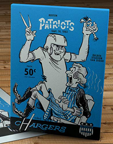 1963 Vintage San Diego Chargers - Boston Patriots Football Program Cover - Canvas Gallery Wrap - 12 x 16