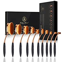 Party Queen Amazing 10Pcs Rose Golden Elite Oval Toothbrush Design Makeup Brush Set
