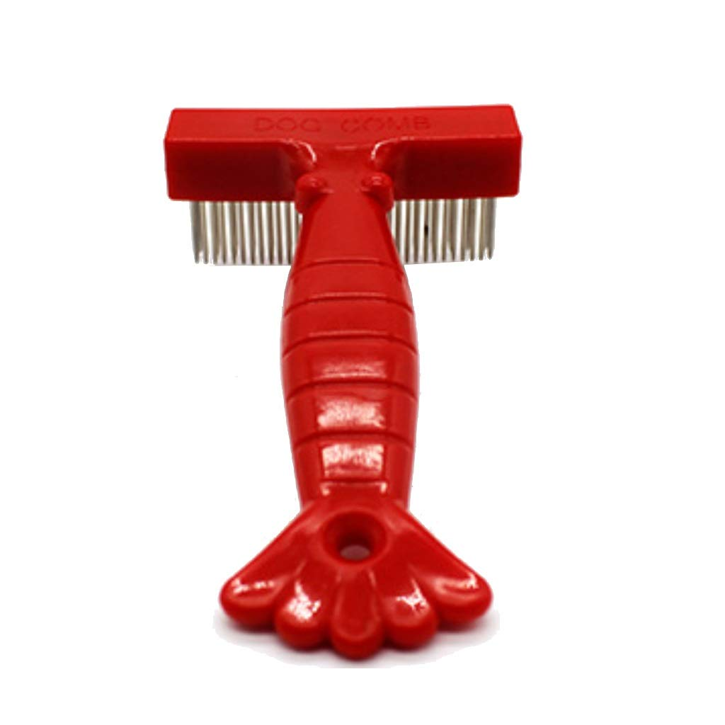 Onnear Durable Pet Rake-Double Row Stainless Steel Comb Teeth,Great for Detangling and Removing Loose Undercoat or Shed Fur(Red)