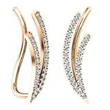 0.25 Carat (ctw) 18K Rose Gold Round White Diamond Ladies Double Row Climber Earrings 1/4 CT