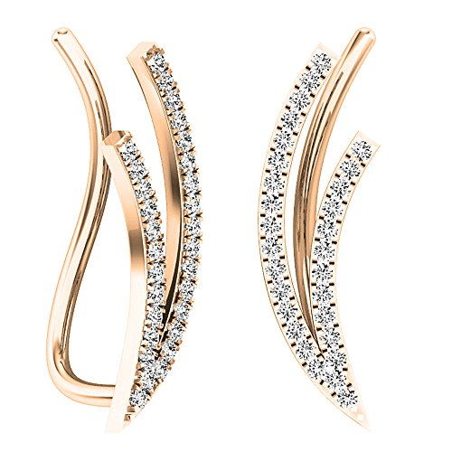0.20 Carat (ctw) 10K Rose Gold Round White Diamond Ladies Double Row Climber Earrings 1/5 CT by DazzlingRock Collection