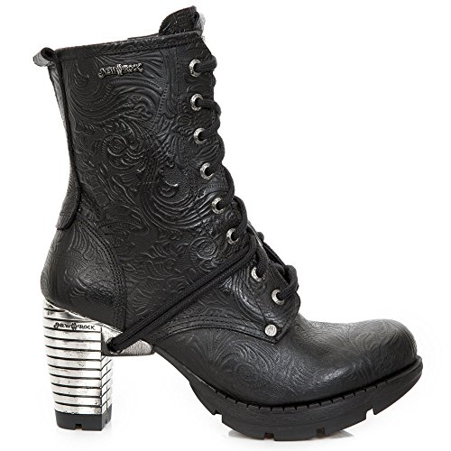 Tacco Stivali Chiusura tr001 Stivaletti M Pelle Punk Nero Stringati s24 Donna Zip Urban New Ragazza Rock Heavy Gotico 7Yfqvv