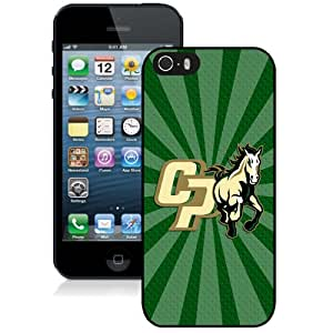 Fashion Custom Designed Cover Case For iPhone 5S Phone Case With NCAA Big Sky Conference Football Cal Poly Mustangs 7 Protective Cell Phone Hardshell Cover Case for Iphone 5 5s Black