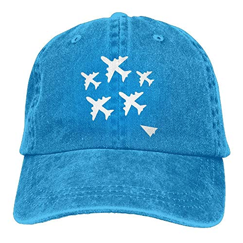 (2018 Adult Fashion Cotton Denim Baseball Cap Paper Airplane Classic Dad Hat Adjustable Plain Cap New2)