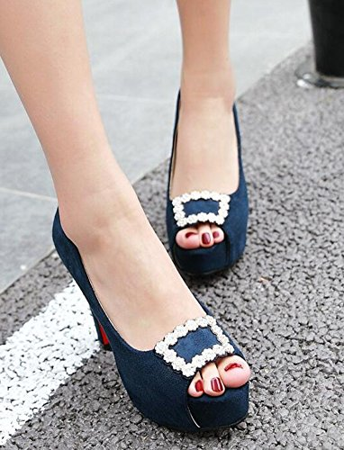 Fashion Blue Womens On Rhinestones Heels IDIFU Chunky Pumps High Platform Slip ag5Cwqw