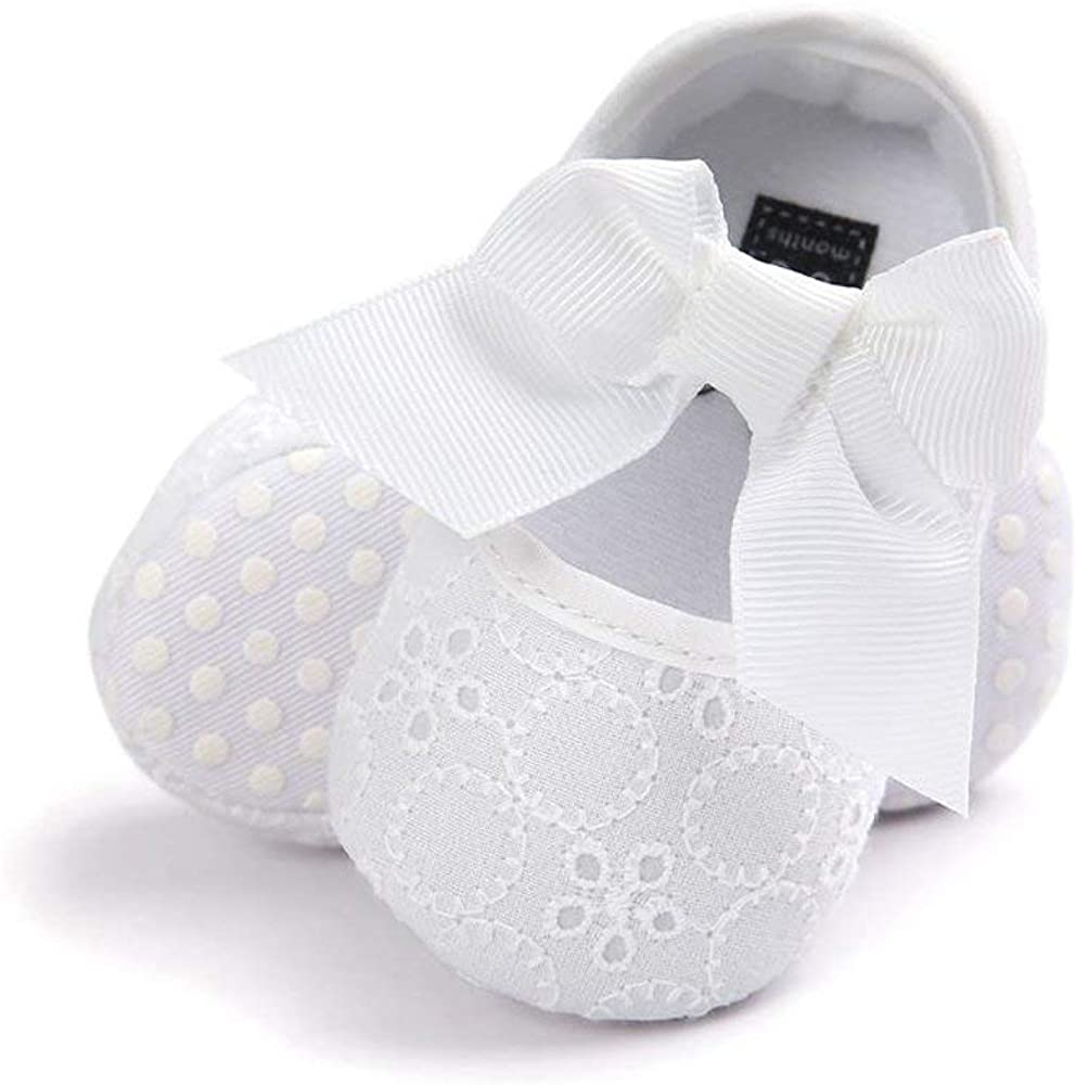 Zernar Baby Girls Princess Bowknot Infants Soft Cloth Sole Mary Jane Flats Non-Slip First Walkers Bow Crib Shoes
