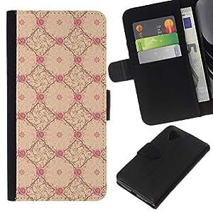 KingStore / Leather Etui en cuir / LG Nexus 5 D820 D821 / Fond d'écran Jaune Rose