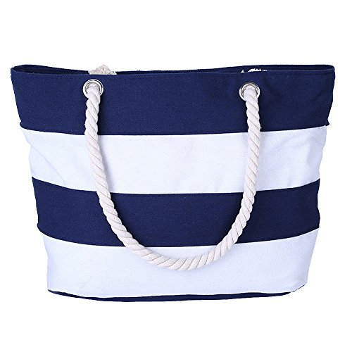 AIYoo Large Beach Bag with Inner Zipper Pocket and Rope Handle,Canvas Tote Bag for travel,Shopping,Beach,Waterproof Women Shoulder Bag ()