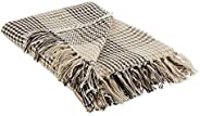 """DII Dark Brown & Stone Houndstooth Plaid Woven Throw, 50x60 with 2.5"""""""