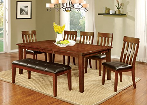 Furniture of America Harcourt 6-Piece Transitional Dining Set