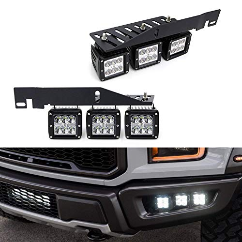 iJDMTOY Lower Bumper Mount High Power LED Fog Lighting Kit For 17-up Ford Raptor, Includes (6) CREE 2×3 LED Pod Light, Heavy Duty Mounting Brackets & On-Off Relay Wiring