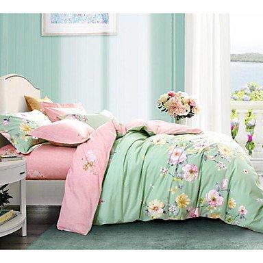 DB&PEISHI Flower 4 Piece Cotton Cotton 1pc Duvet Cover 2pcs Shams 1pc Flat Sheet , pink+blue , queen