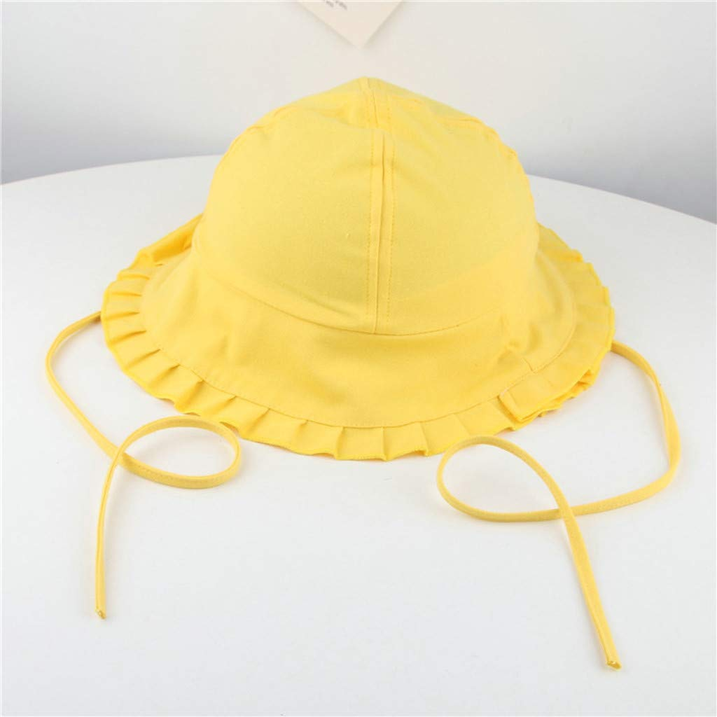 UCQueen Bucket Cap Baby Toddler Baby Kids Girls Boys Candy Solid Ribbons Breathable Hat Bucket Cap