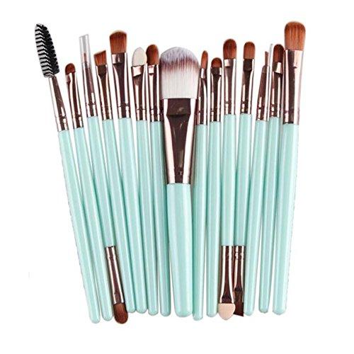 15PCs Wool Makeup Brush Set Tools Toiletry Kit 15PCs-Mint Green