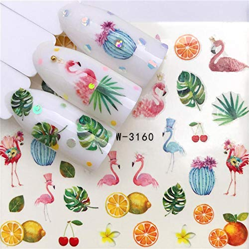 1 Sheet Maple/Feather/Flower Water Transfer Nail Sticker Decals Beauty Decoration Designs DIY Color Tattoo Tip YZW-3160