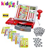 large calculator cash register - Kiddie Play Pretend Play Cash Register Toy for Kids with Multiple Category Cards for Different Stores and Play Money Dollar bills Coins and Credit Card