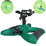 HIDOLL Garden Sprinkler, 360° Rotating Lawn Sprinkler with a Large Area of Coverage Adjustable, Weighted Gardening Watering System