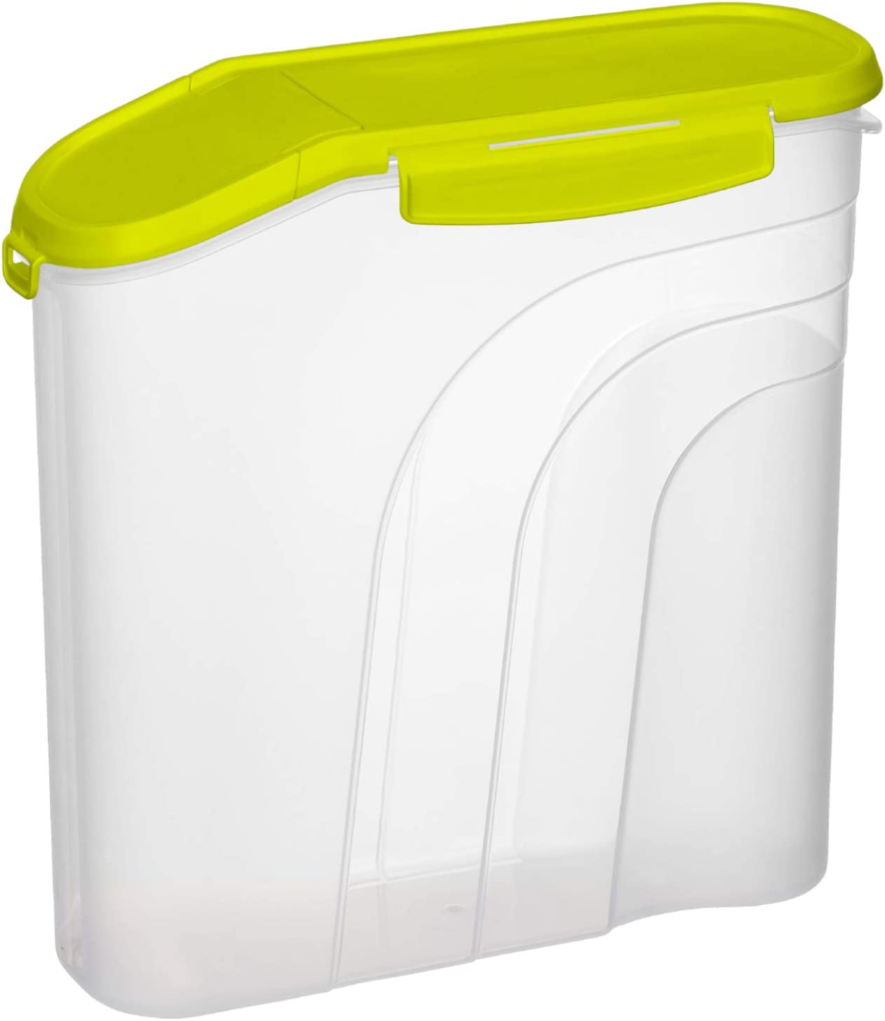 Rotho Mueslibox 2.2l with Aroma-Proof lid and Pouring Opening PP Transparent//Green Plastic BPA-free 2,2l 22 x 8 x 22 cm
