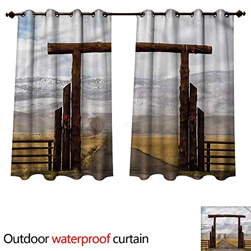 cobeDecor Western Home Patio Outdoor Curtain Montana Cattle Ranch Winter W72 x L63(183cm x 160cm)