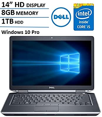 Dell Latitude E6430s 14 Inch Business Laptop Computer, Intel Dual Core i5 up to 3.3GHz CPU, 8GB RAM, 1TB HDD, DVD, HDMI, USB 3.0, Windows 10 Professional (Certified Refurbished)
