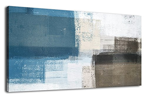 Wall Art Abstract Canvas Painting Picture Modern Vintage Canvas Artwork Long Contemporary Art 20'' x 40'' for Office Bedroom Living Room Bathroom Kitchen Wall Decor Home Decorations Blue Grey Brown by arteWOODS